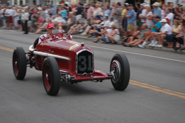Peter in #5006 during the Watkins Glen road race recreation, September 2008: photograph by Clem Simmons